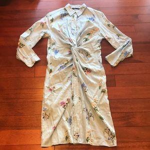 👗NWOT Zara knot midi shirt dress